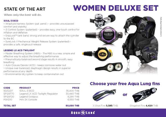 PADI IDC Equipment Aqualung Women Deluxe Set