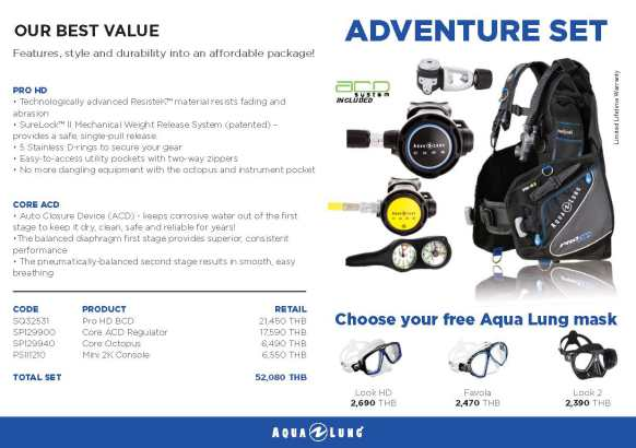 PADI IDC Equipment Aqualung Adventure Set