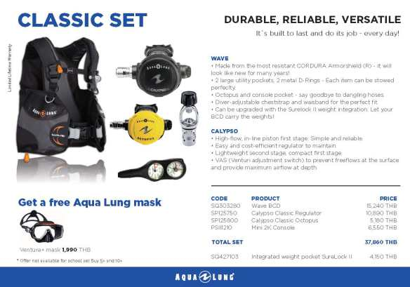 PADI IDC Equipment Aqualung Classic Set